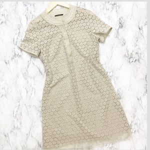 Ellie Tahari Floral Lace 100% Silk Shirt Dress
